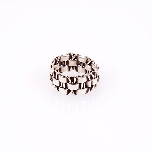 Silver Weave Pattern Ring