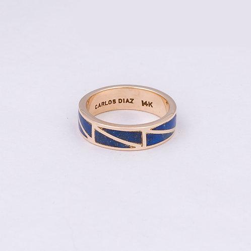 Consignment CD 14k Gold Lapis Inlay Ring GD-0056