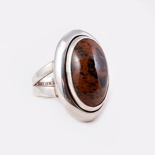 Carlos Diaz Sterling Silver Brown Agate Ring RG-0247