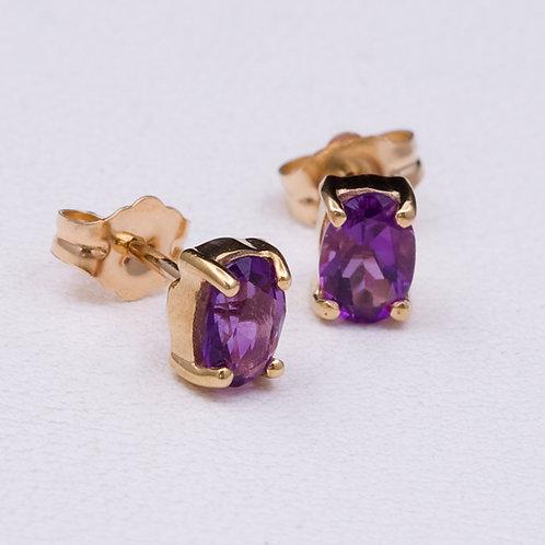 14KT Yellow Gold Amethyst Earrings GD-0239
