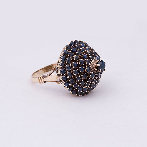 Consignment 14k Sapphire Cluster Ring