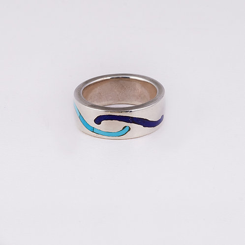 Sterling Carlos Diaz Lapis/Turquoise Ring RG-0193