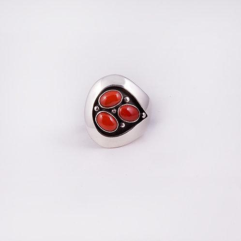Sterling CD Coral Shadow Box Ring RG-0142