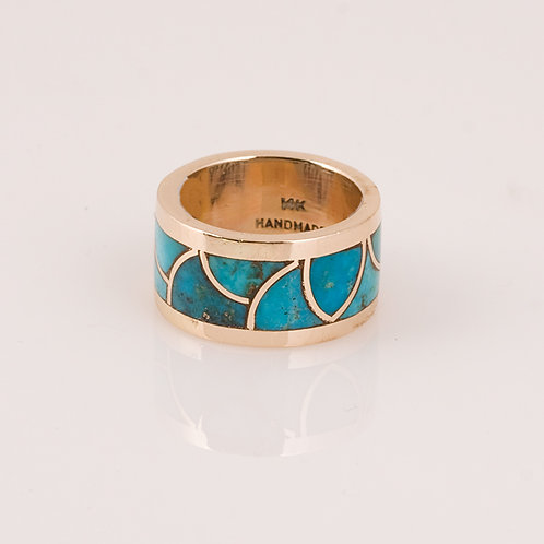 Consignment 14k Turquoise inlay ring CC-0171