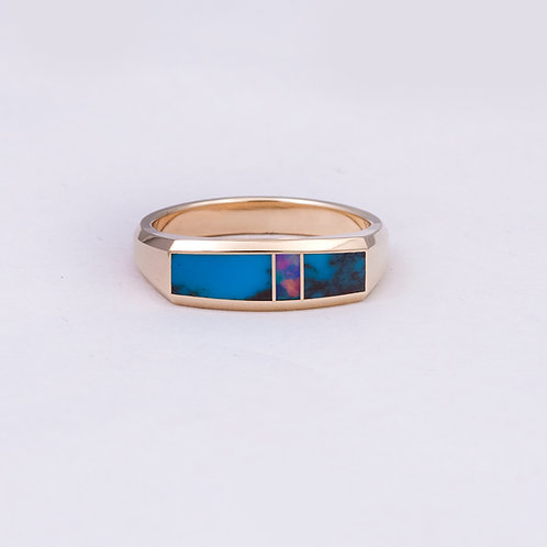 14k Gene Alu Opal/Turquoise Ring GD-0088
