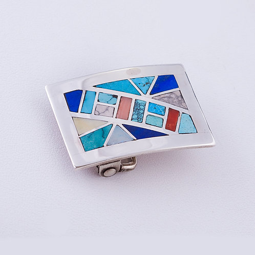 Sterling Silver Zuni Multi Inlay Buckle