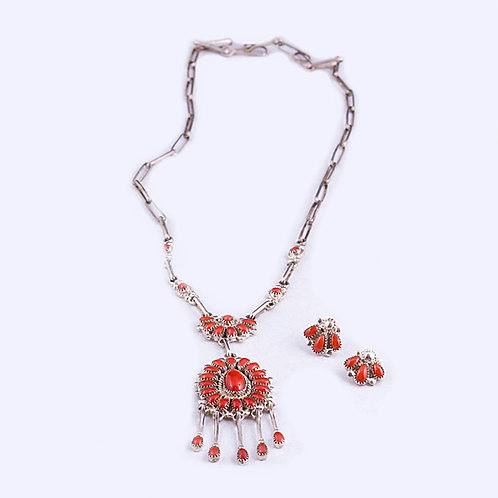 Sterling Zuni Pedipoint Coral Necklace NK0057