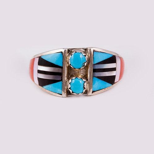 Sterling Zuni Multi inlay Ring RG-0375
