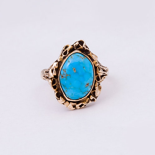 14k CD Morenci Turquoise Nugget Ring GD-0095