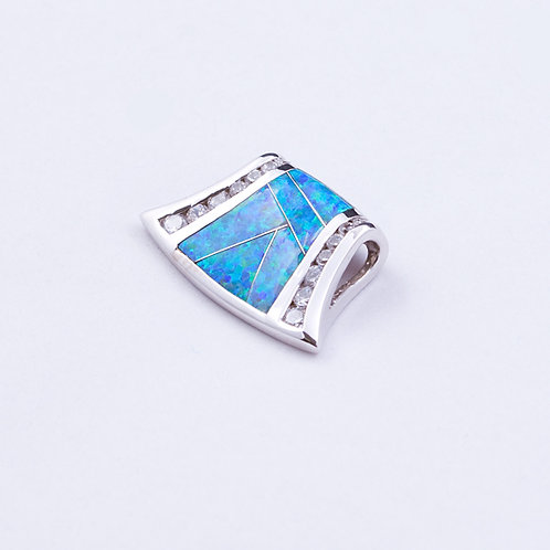 Sterling lab opal pendant with CZ