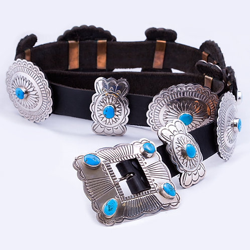 Consignment Sterling and Turq Navajo Concho Belt