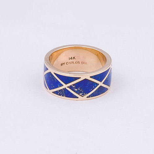 Carlos Diaz 14k Lapis Inlay Ring GD-0067