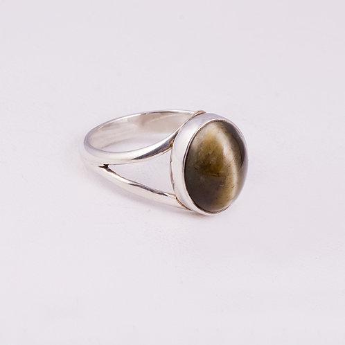Sterling Tiger Eye Split Shank Ring RG-0166