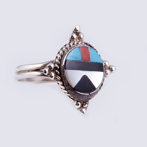 Sterling Zuni Multi inlay Ring RG-0372