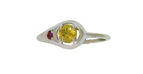 Yellow Diamond & Ruby Ring