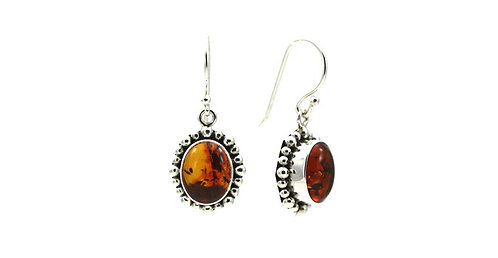 Sterling Silver Bali Oval Amber Earrings