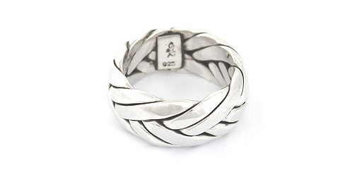 Large Braided Silver Ring