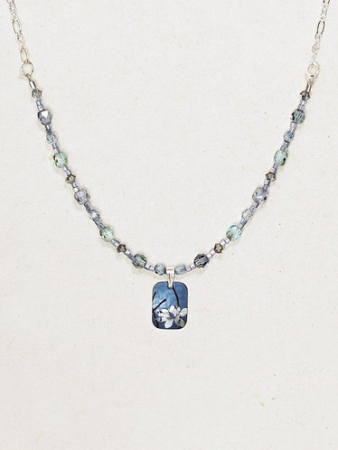 Blue/Silver Blooming Lotus Beaded Necklace