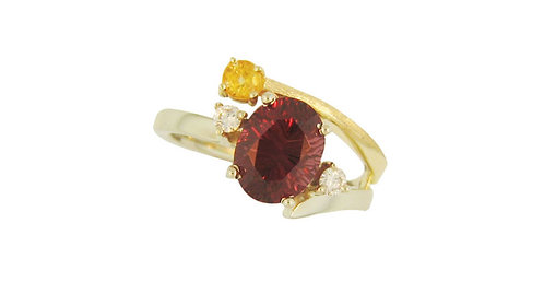 Fancy Cut Rhodolite Garnet Ring