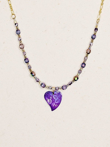 Purple Healing Heart Beaded Necklace
