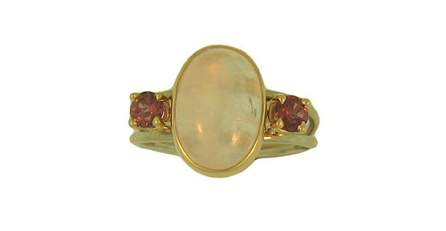Moonstone and Garnet Ring