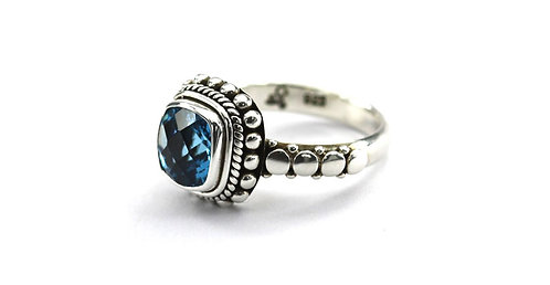 Sterling and 8mm Swiss Blue Topaz Ring