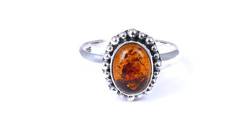 Oval Amber Sterling Ring