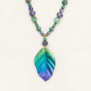 Teal/Purple Elm Beaded Necklace