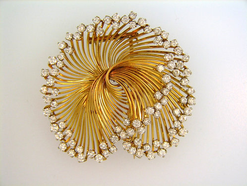 Spiral Diamond Brooch