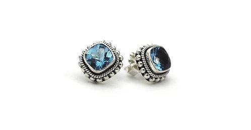 Swiss Blue Topaz Post Earrings