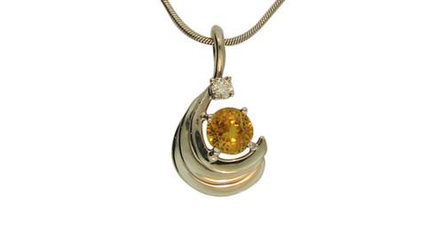 Yelloworange sapphire pendant aloadofball Image collections