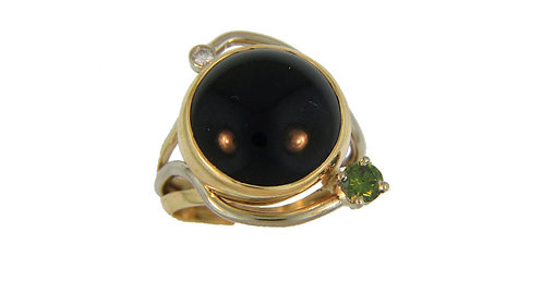 Black Onyx and Green Diamond Ring