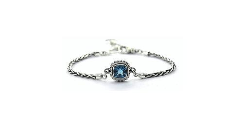 Sterling Silver 8mm Square Blue Topaz Bracelet.