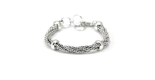 Sterling Silver Wheat Chain Twist Bracelet