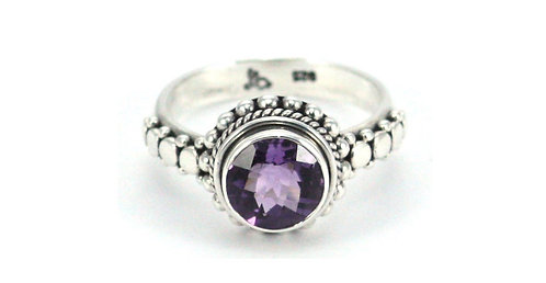 Sterling and 9mm Amethyst Ring