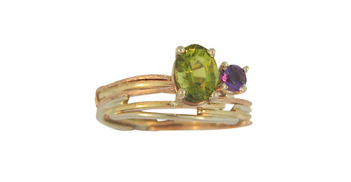 Tri-Tone Green Tourmaline Ring