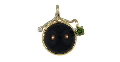 Black Onyx & Diamond Pendant