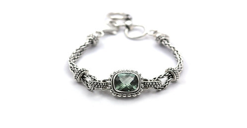 Sterling Silver Square Green Amethyst Bracelet