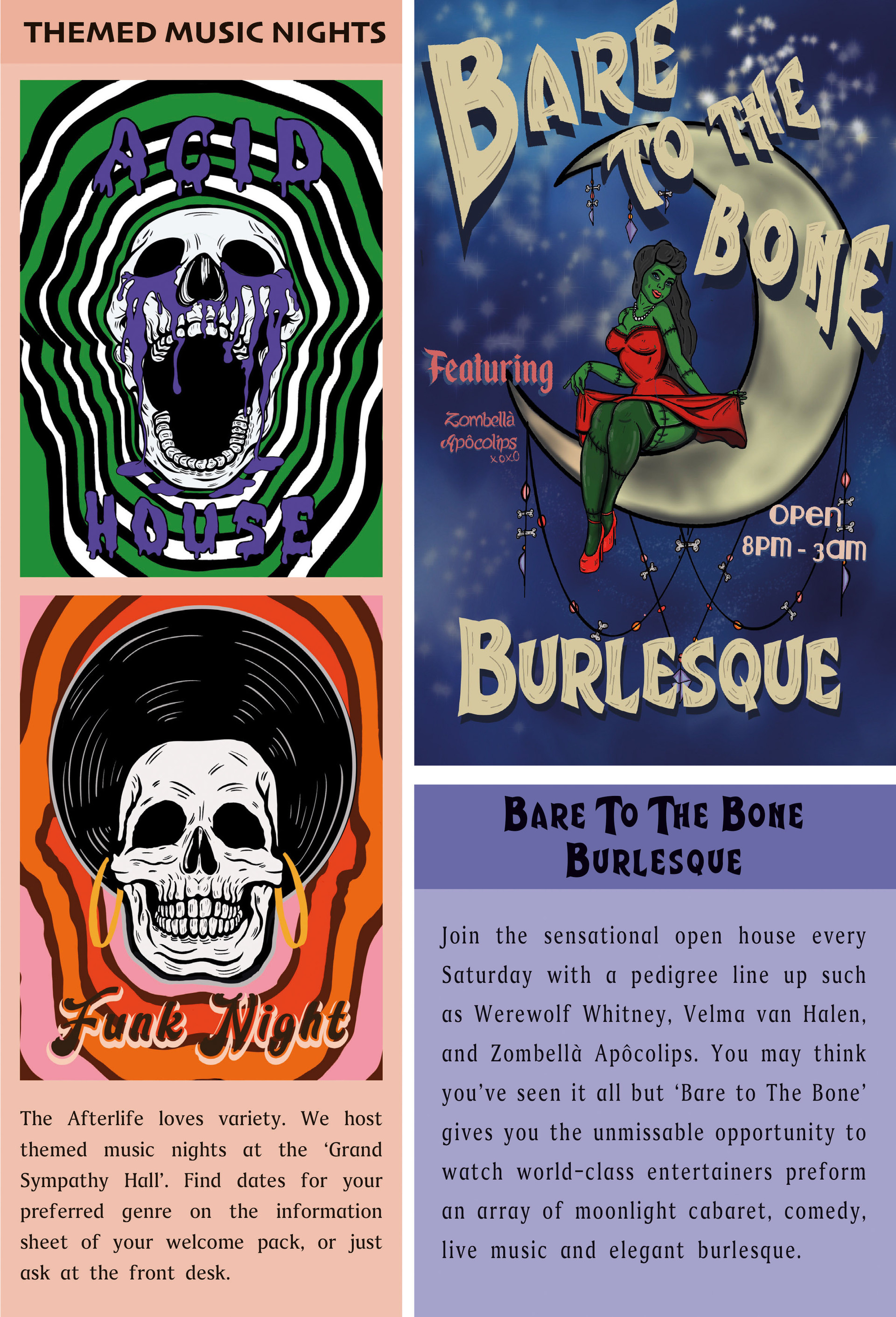 Acid House, Funk Night and Bare to the Bone Burlesque from Afterlife-A guide for the Recently Deceased.