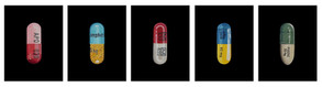 From left to right:  Omeprazole (Prilosec) Amphetamine (Adderall) Acetaminophen (Tylenol) Atomoxetine Hydrochloride (Strattera) Fluoxetine Hydrochloride (Prozac) Oil on linen           27 x 35 cm (each)  Capsule Pentaptych The series of five capsule paintings represent commonly prescribed treatments for both physical and psychological conditions.  They also allude to the recreational use of prescription drugs and to the wider implications surrounding addiction.