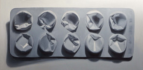 Co-codamol (Solpadol) Oil on linen 50 x 100 cm   Monochromatic Painting At the outset of the series I practiced painting in monochrome (grisaille); this is a technique which assists in evaluating tonal values and levels of contrast to emphasise form.  In the process of experimenting with black and white pigments in order to create an achromatic scale of neutral-grey colours, I became aware of certain unforeseen chemical incompatibilities between the parent pigments.  This led me to investigate the 9 pure black oil pigments mixed with five white pigments to assess their temperature, opacity, consistency and drying behaviour.  The exercise extended to a more comprehensive study of all single-pigment primary colours. Those displayed in the exhibition are a sample representative of ongoing tests.  I attended the 'Modern Oil Paints' conference at the Rijksmuseum in 2018; my exposure to the scholarship on pigments prompted me to restructure my palette further and refine other areas of my practice to achieve greater efficiency and stability in my painting. I assessed supports including canvas, wood panel, clayboard, aluminium and copper.  I also developed a medium recipe combining historical and contemporary formulas.  This enabled me to more accurately regulate drying times and manage inconsistencies that emerged from the pigment tests.