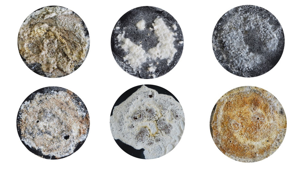 (top left) Mineral Kaolinite , C25H28N6O7 and MgSO4 with (C2H40)X Black gesso primer with salt, clay, coffee and glue on 200lb paper  (bottom left) Mineral Kaolinite, SiO4 and NaCl + C with (C2H4O)X Black gesso primer with clay, coffee, salt and glue on 300lb paper  (top middle) (MgClKNaCaCl)Cl with (C4H4O)X Black gesso primer with salt and glue on 300gsm paper  (bottom middle) NaCl + S and (C2H4O)X Black gesso primer with salt and glue on high quality printer paper  (top right) NaCl + C with 5 chlor- 2 methyl- 2H isothiazol- 3 On + 2 methyl- 2H isothiazol- 3 On  Black gesso primer with salt and varnish on 300gsm paper   (bottom right) C25H28N607 and NaCl with (C2H40)X Black gesso primer with salt, coffee and glue on 300gsm paper  10.16 x 10.16 cm each