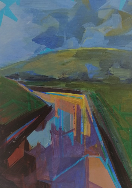 Tirwedd las (Blue Landscape) - Abstracted Spring series