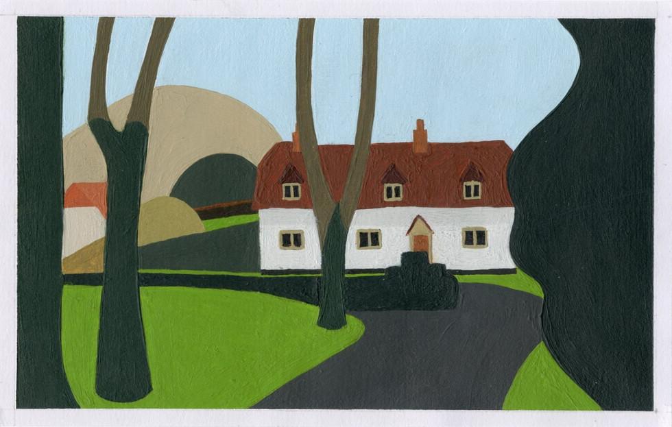 Acrylic on card 8.5 x 13.5 cm