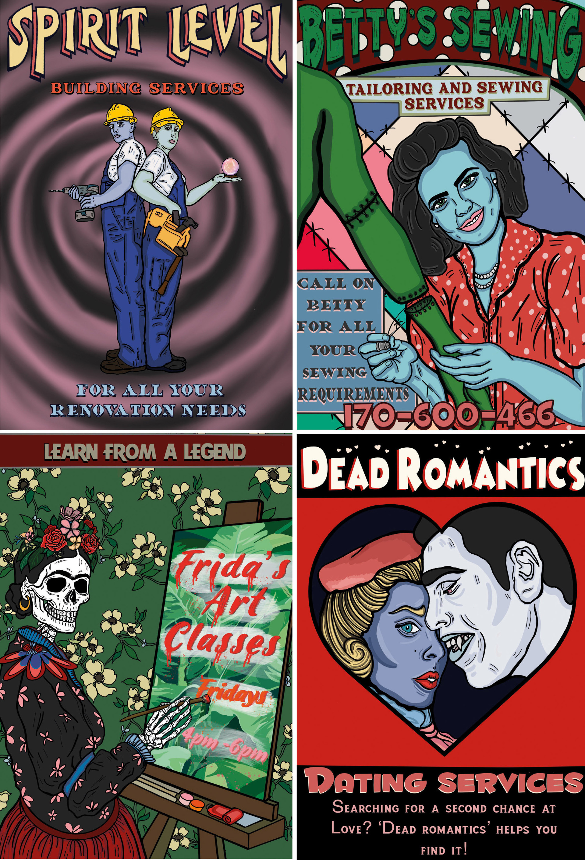 Spirit Level, Betty's Sewing, Learn form a Legend and Dead Romantics  from Afterlife-A guide for the Recently Deceased.