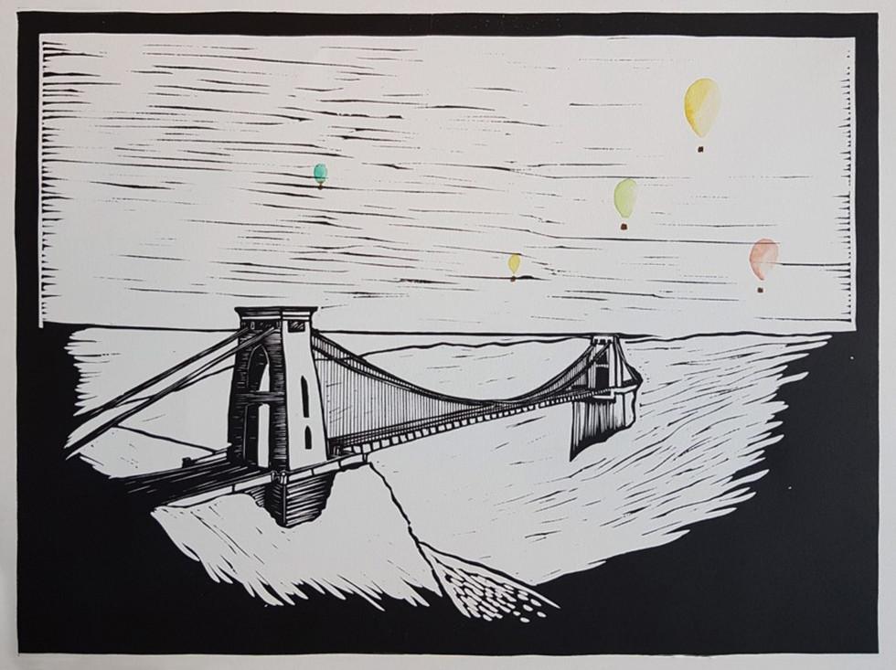 Suspension Bridge with Hot Air Balloons