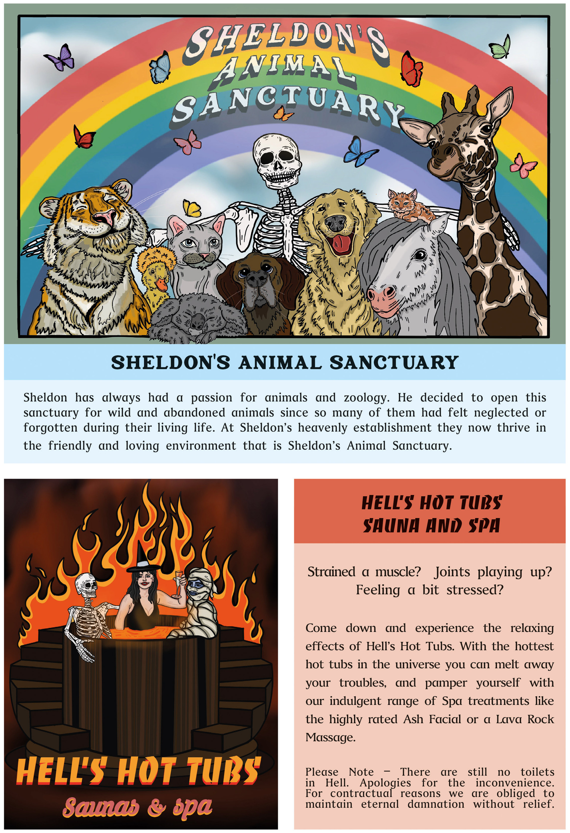 Sheldon's Animal Sanctuary, Hell's Hot Tub Sauna and Spa from Afterlife-A guide for the Recently Deceased.