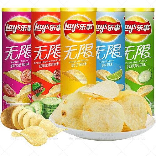 Lays Potato Chips (Original/Barbecue/Cucumber/Lime/Tomato) 乐事无限薯片多口味104g