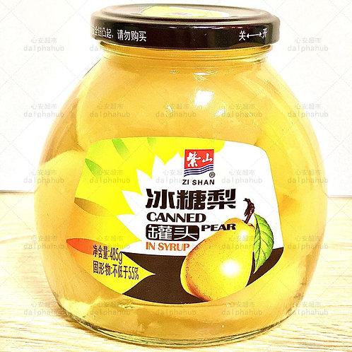 Canned rock sugar pear 紫山冰糖梨罐头485g
