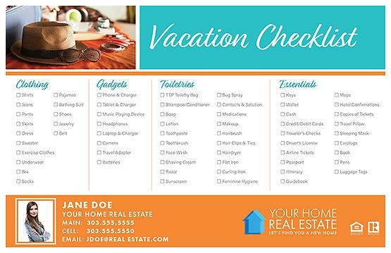 Vacation Checklist Postcard